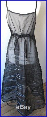 Krista Larson Black Silk Organza LONG Spring Slip Romantic Vintage Style