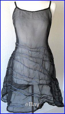 Krista Larson Black Silk Organza SHORT Spring Slip Romantic Vintage Style