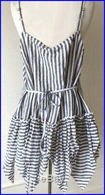 Krista Larson Black & White Striped Linen Short Vintage Slip (NWT $428 retail)