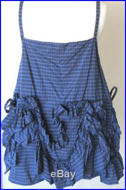 Krista Larson Blue Plaid Cotton Petticoat Cami Short Slip Romantic Vintage Style