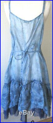 Krista Larson Blue Printed Silk Organza Short Underpinning Slip Romantic Vintage