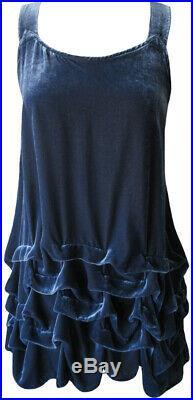 Krista Larson Blue Velvet Short Wavey Slip Vintage Romantic Style