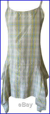 Krista Larson Blue & Yellow Plaid Silk Taffeta Short Pinwheel Slip Vintage Style