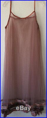 Krista Larson Cocoa Brown Tulle Ribbon Slip Velvet Trim Romantic Vintage Faerie