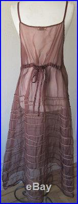 Krista Larson Cocoa Silk Organza LONG Spring Slip Romantic Vintage Style NWT