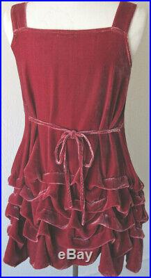 Krista Larson Cranberry/Fuchsia Velvet Short Wavey Slip Vintage Romantic Style
