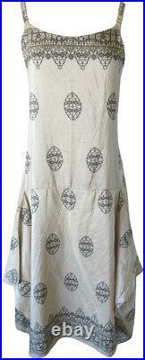 Krista Larson Cream Border Print Silk Taffeta Long Pinwheel Slip Vintage Style