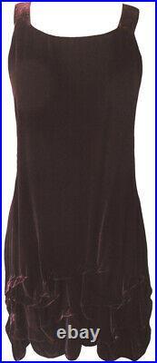 Krista Larson Dark Burgundy Velvet Short Wavey Slip Vintage Romantic Style