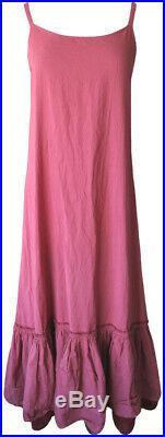 Krista Larson Dark Pink/Magenta/Red Cotton Long Underpinning Slip Vintage Style