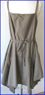 Krista Larson Moss Plaid Cotton Short Pinwheel Slip Vintage Style NWT