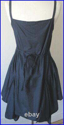 Krista Larson Navy Blue Cotton Short Pinwheel Slip Layering Vintage Inspired