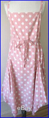 Krista Larson Peach/Pink Polka Dot Cotton Long Pinwheel Slip Vintage Style
