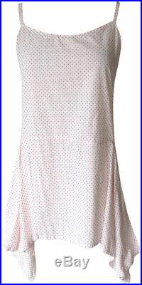 Krista Larson Pink Tiny Polka Dot Cotton Pinwheel Cami Short Slip Vintage Style