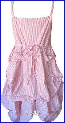 Krista Larson Pink/White Striped Cotton Umbrella Slip Romantic Vintage Style