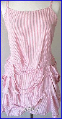 Krista Larson Poppy Pink & White Striped Cotton Cyclone Cami Slip Vintage Style