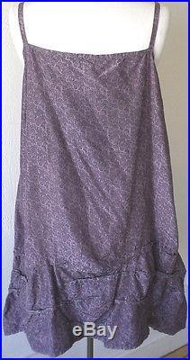 Krista Larson Purple Fan Print Silk Taffeta Short Wavey Slip Vintage Style