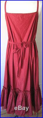 Krista Larson Red Cotton & Silk Long Underpinning Slip Romantic Vintage Style