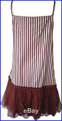 Krista Larson Rust Striped Short Roxy Slip with Fluffy Hem Romantic Vintage Style