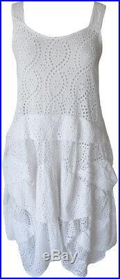 Krista Larson White Cotton Eyelet Umbrella Slip Romantic Vintage Style