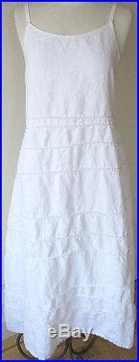 Krista Larson White Linen Long Spring Slip Romantic Vintage Style