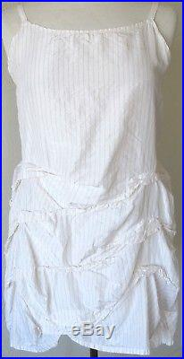 Krista Larson White Striped Silk Taffeta Cyclone Cami Slip Vintage Style