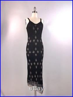 Kroshetta By Papillon Vintage 70s 80s Crochet Dress Black Beaded Slip Sheath