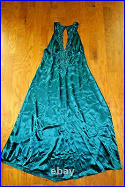 L Vintage VICTORIA'S SECRET SATIN SEQUINED SLIP MAXI LONG BRA DRESS GREEN