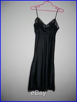 LANVIN Vintage Slip Dress Black Silk Sleeveless Lace Bodice Size m