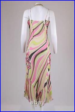 LIBRE Vintage Y2K Pink Swirl Floral Bias Cut PURE-SILK Slip Long Dress 12