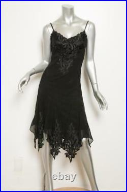 LILLIE RUBIN VINTAGE Womens Black Silk Floral Embroidered Trim Cocktail Dress 2