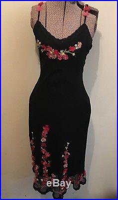 LOT 2 Betsey Johnson Slip Dresses 3D Ribbons Sz 6 Vtg womens