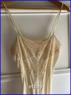 Lace Vintage 30s Dress Ivory Silk Slip Wedding Small Bias cut