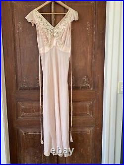Lace Vintage 40s Dress 100% Silk 10 Slip Wedding Dust Pink Long Tie Backless M L