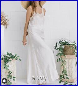 Lace Vintage 40s Dress Satin Rayon Slip Wedding Long Backless Maxi M L