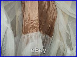 Ladies S Vintage Homemade Wedding Dress Fancy Floral Lace Netting Slip Mid evil