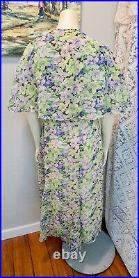 Late 1920s-Early 1930s Floral Chiffon Dress With Matching Slip, Belt and Shawl L