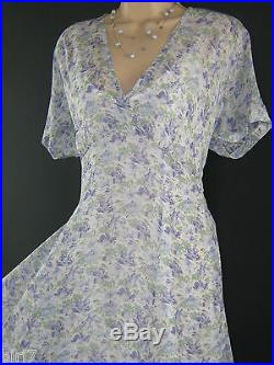 Laura Ashley Vintage Sapphire Floaty Summer / Tea Dress Incl Underdress Slip, 12
