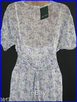 Laura Ashley Vintage Sapphire Floaty Summer / Tea Dress Incl Underdress Slip, 12