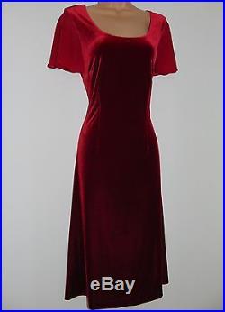 Laura Ashley vintage cherry-red velvet georgette sleeve slip-on style dress, M