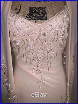 Lillie Rubin Vintage Beaded Slip Dress With Swoop Back Size 10