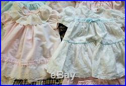Lot Vintage Infant Girl Dresses Apron Bonnet Slip Bloomers Coat Sz NB-24 mos