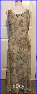 Lovely! Vintage Real Calvin Klein8taupe, Grey, Rust Chiffon Slip Dress