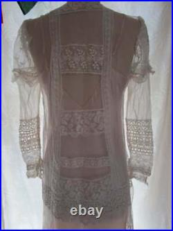 M Tambour Lace Mesh Upcycled Slip Dress Downton Abbey Vintage Ivory Bridal Tea L