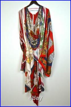 MARINE SERRE Future Wear Vintage Silk Foulard Scarf Asymmetric Draped Dress OS