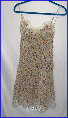 MOSCHINO Vintage Floral Lace Babydoll Slip Dress Sz 6
