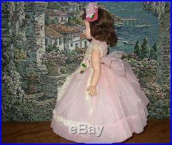 Madame Alexander Vintage Elise Doll 16 Tall Tagged Pink Long Dress Slip
