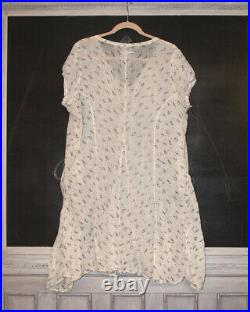 Magnolia Pearl Ivory Voile Cotton Slip Dress RARE blue flowers Retired Vintage