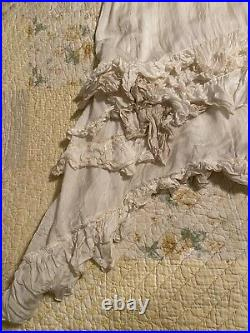 Magnolia Pearl Vintage Silk Ruffled Slip Dress