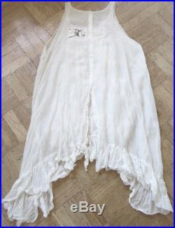 Magnolia Pearl White Silk/Cotton Ruffled Slip Dress Romantic Vintage Style
