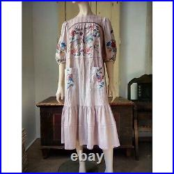 Magnolia Pearl style Johnny Was Hand Embroidery Boho DRESS and Slip Maxi Dress